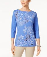 Karen Scott Floral Graphic Top, Only at Macy's
