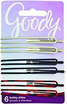 Goody Bobby Pin Slides, Long, Assorted Colors, 6-count, (Pack of 2)