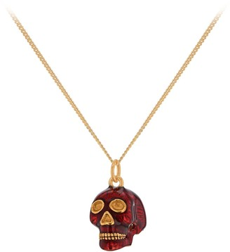 True Rocks New SS19 Small Skull Pendant In Red Enamel & 18 Carat Gold Plated Detail & Chain