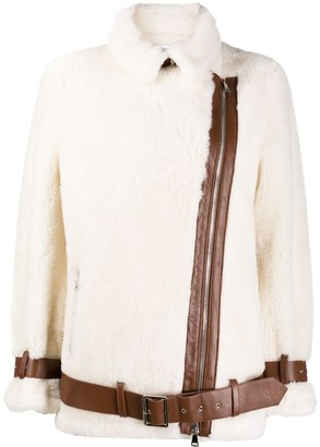 Stand Studio Belted Shearling Jacket