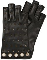 Gucci Studded Cut-Off Leather Gloves