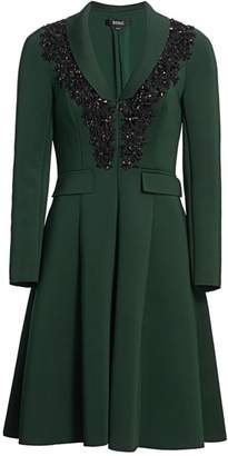 Badgley Mischka Embroidery Flare Suit Dress