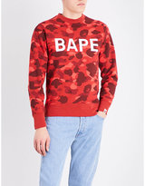 A Bathing Ape Mens Red Ribbed Traditional Camouflage Logo-Print Cotton Sweatshirt