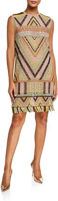 Valentino Geometric Macrame Shift Dress, Multi