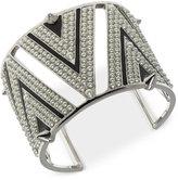 Givenchy Silver-Tone Imitation Pearl Black Detail Cuff Bracelet