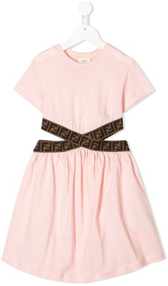 Fendi FF logo band cut-out dress