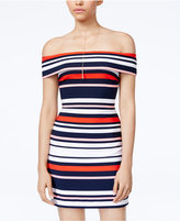 B. Darlin Juniors' Striped Off-The-Shoulder Dress