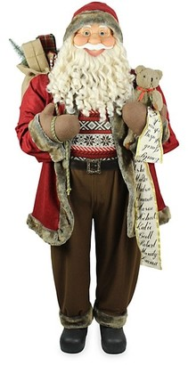 Fraser Hill Farms Life-Size Indoor Christmas Decoration, 5-Ft. Scroll, Gift Sack, And Bear, Wearing A Nordic Sweater Standing Santa Claus