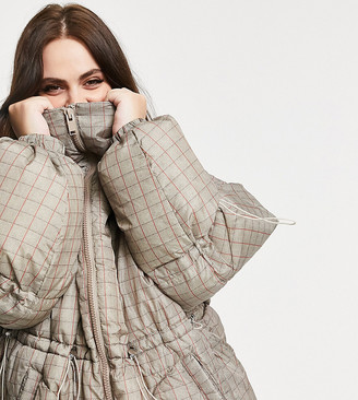 Sixth June Plus oversized puffer jacket in check