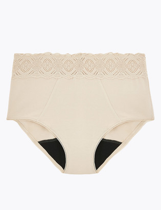Marks and Spencer Anti-Leak Cotton & Lace Full Briefs
