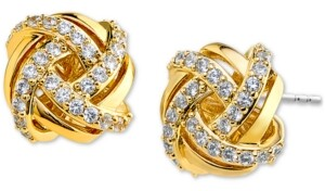 Eliot Danori Pave Knot Stud Earrings, Created for Macy's