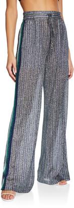 Jonathan Simkhai Metallic Wide-Leg Pants w/ Side Stripes