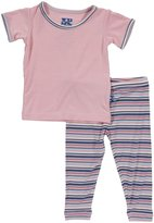 Kickee Pants Print Pajama Set (Baby)-Flamingo Umbrella-18-24 Months