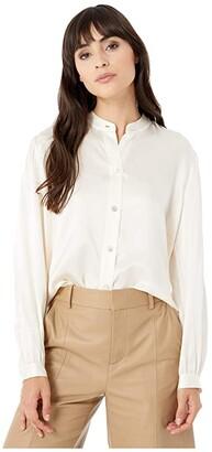 Vince Shirred Band Collar Blouse (Chiffon) Women's Clothing