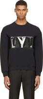 Calvin Klein Collection Black Pvc Band Crewneck Sweatshirt