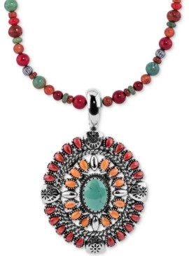 """American West Multi-Stone Pendant Necklace (12-1/4 ct. t.w.) in Sterling Silver, 17"""" + 3"""" extender"""