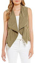Jones New York Asymmetrical Zip Front Drape Neck Vest
