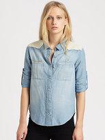 IRO Leather-Trim Chambray Shirt