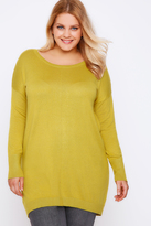 Yours Clothing Chartreuse Yellow Longline Knitted Jumper With Seam Front Detail