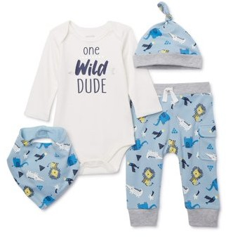 Miniville Baby Boys Bodysuit, Pants and Hat Outfit Set, 4-Piece