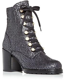 Stuart Weitzman Women's Ivey Tweed High Block Heel Combat Boots