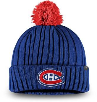 Key Stone Men's Fanatics Branded Blue Montreal Canadiens Keystone Cuffed Knit Hat with Pom