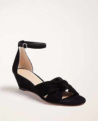 Ann Taylor Kaylin Suede Knot Wedge Sandals