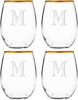 Susquehanna Glass Set Of Four 21Oz Engraver Monogram Gold-Rimmed Stemless Glasses