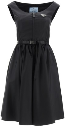 Prada Logo Plaque Belted Flared Dress