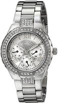 GUESS Women's U0111L1 Sparkling Silver-Tone Hi-Energy Mid-Size Watch