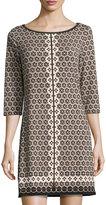 Max Studio Tile-Print Jersey Dress, Black Pattern