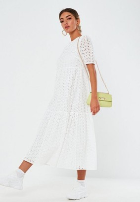 Missguided Broderie Smock Midi Dress