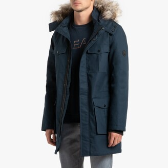 Cotton Hooded Parka with Removable Faux Fur Collar and Pockets