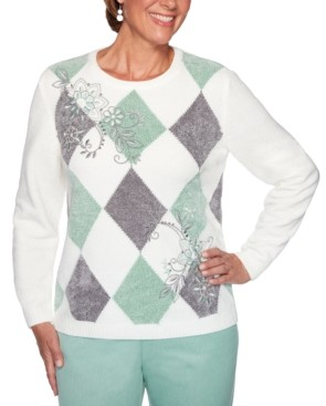 Alfred Dunner Lake Geneva Embroidered Chenille Sweater