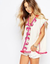 Maison Scotch Top with Bright Embroidery and Tassles