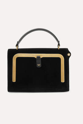 Anya Hindmarch Postbox Small Velvet And Textured-leather Tote - Black