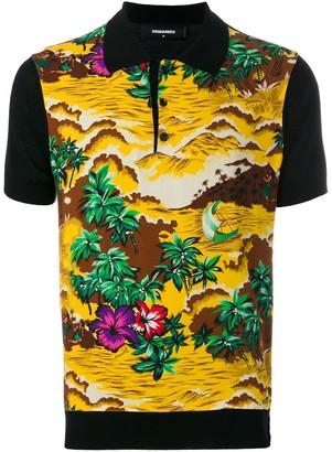 DSQUARED2 Hawaii landscape print polo shirt