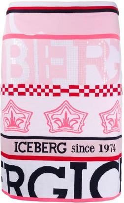 Iceberg High-Waisted Striped Skirt