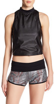 Koral Faux Leather Punch Cropped Tank
