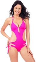 Voda Swim Bright Pink Envy Push Up Cutout Monokini