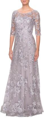 La Femme Shimmer Lace A-Line Gown