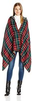 D&Y Women's Plaid Reversible Cape with Button Closure and Hood
