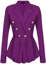 CLJJ7 Women's Slim Work Office Laple Double Breasted Blazer Jacket Candy Color