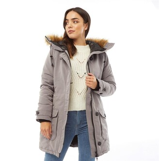 Brave Soul Womens Jacobs Faux Fur Parka Grey