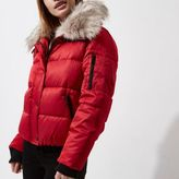 River Island Womens Petite Red faux fur collar puffer jacket