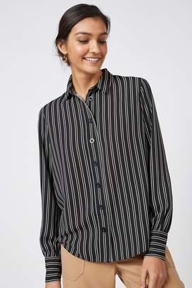 Next Womens Monochrome Stripe Long Sleeve Shirt - Black