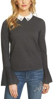CeCe Women's Collar Bell Sleeve Sweater