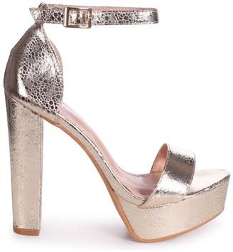 Barely There Linzi ELLEN - Gold Cracked Metallic Closed Back Platform Block Heel