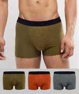 New Look Trunks In Khaki And Orange 3 Pack