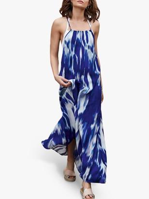 Mint Velvet Freya Abstract Print Maxi Dress, Blue/White